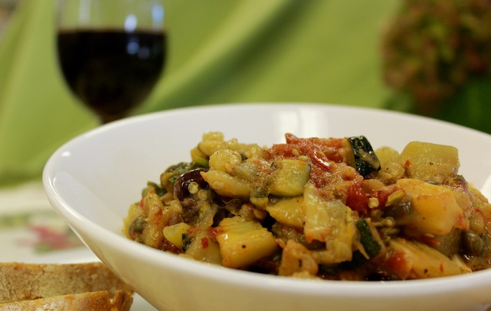Caponata_with_wine_glass